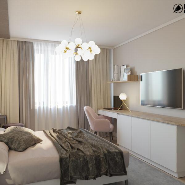 """Дизайн-проект двухкомнатной квартиры ЖК """"Пролисок"""", спальня вид сбоку"""