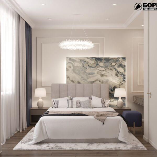 """Дизайн-проект однокімнатної квартири ЖК """"Інфініті"""", спальня вид спереду"""