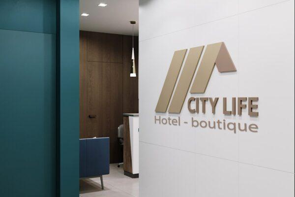 """Дизайн-проект гостиницы """"CITY LIFE"""", ресепшен вид с холла"""
