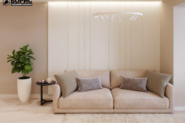 """Дизайн-проект двухкомнатной квартиры ЖК """"Левада"""", гостиная вид спереди"""