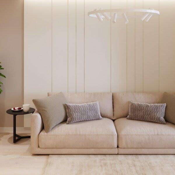 """Дизайн-проект двокімнатної квартири ЖК """"Левада"""", вітальня вид спереду"""