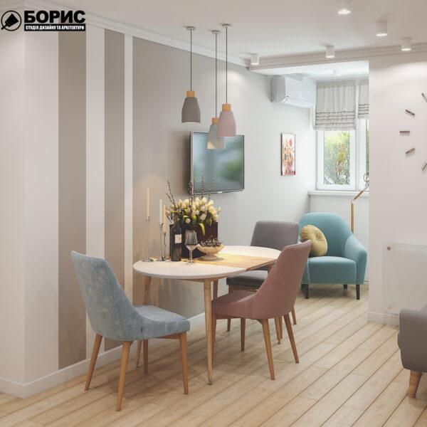 """Дизайн-проект двокімнатної квартири ЖК """"Пролісок"""", кухня обідній стіл"""