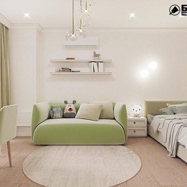 """Дизайн-проект квартири ЖК """"Німецький проект"""", дитяча кімната вид спереду"""