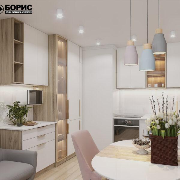 """Дизайн-проект двокімнатної квартири ЖК """"Пролісок"""", кухня вид збоку"""