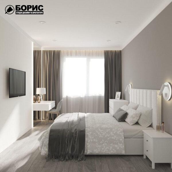 """Дизайн-проект трикімнатної квартири ЖК """"Віденський дім"""", спальня вид зліва"""