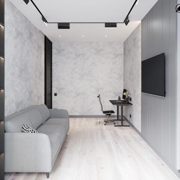 """Дизайн інтер'єру квартири ЖК """"Віденський дім"""", вітальня вид справа"""