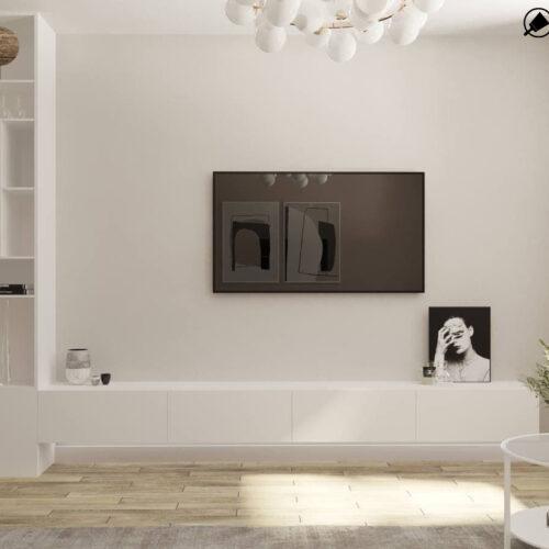 "Дизайн-проект интерьера однокомнатной квартиры ЖК ""Левада 2"", гостиная вид на телевизор"
