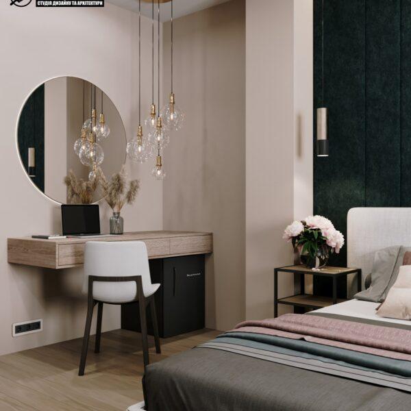 """Дизайн-проект гостиницы """"CITY LIFE"""", комната №1 вид слева, столик"""