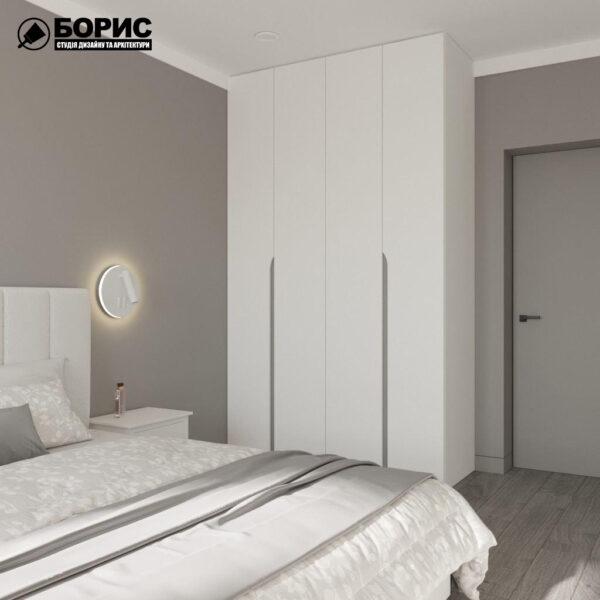 """Дизайн-проект трикімнатної квартири ЖК """"Віденський дім"""", спальня вид справа"""
