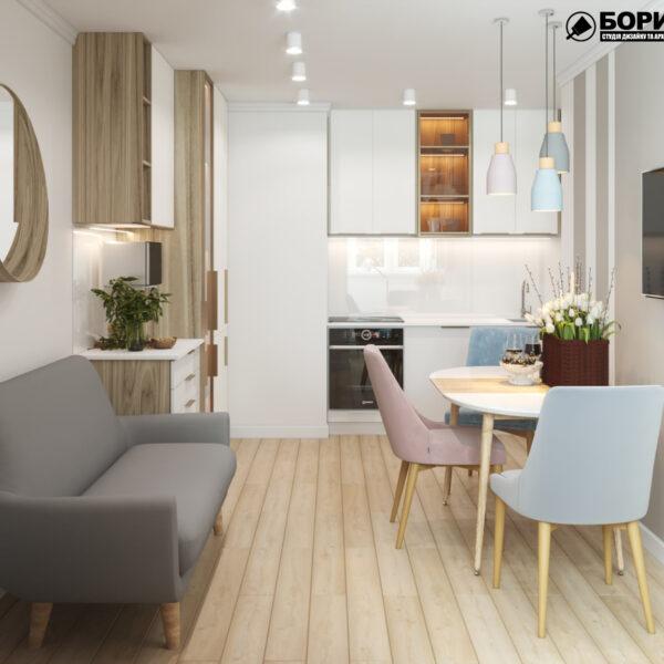 """Дизайн-проект двокімнатної квартири ЖК """"Пролісок"""", кухня"""