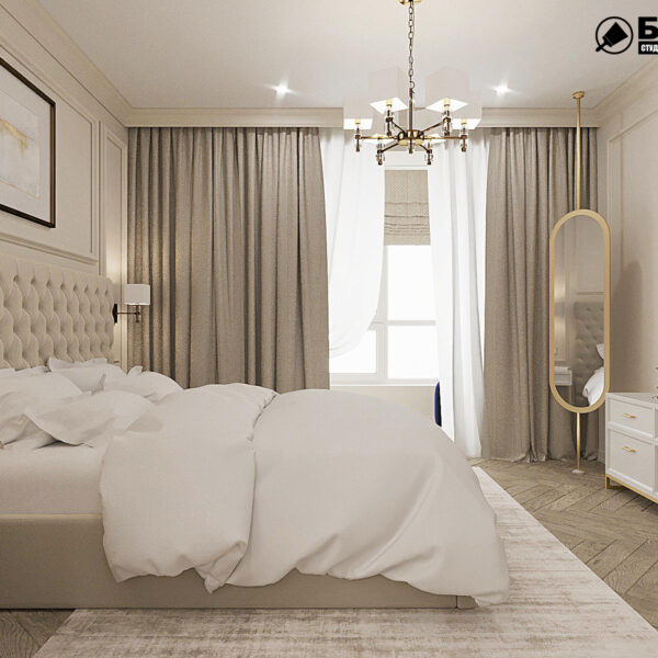 """Дизайн-проект квартири ЖК """"Німецький проект"""", спальня вид справа"""