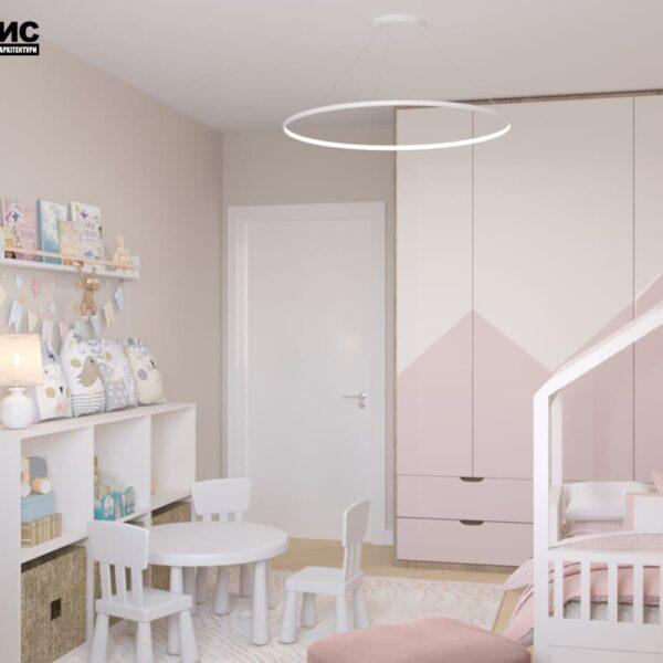 """Дизайн-проект двокімнатної квартири ЖК """"Левада"""", дитяча кімната вид ззаду"""