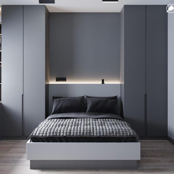 """Дизайн інтер'єру квартири ЖК """"Віденський дім"""", спальня вид спереду"""