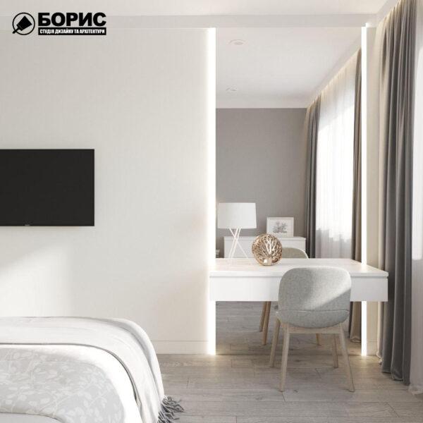 """Дизайн-проект трикімнатної квартири ЖК """"Віденський дім"""", спальня"""