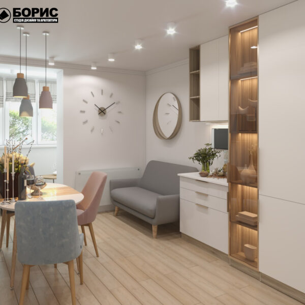 """Дизайн-проект двухкомнатной квартиры ЖК """"Пролисок"""", кухня вид слева"""
