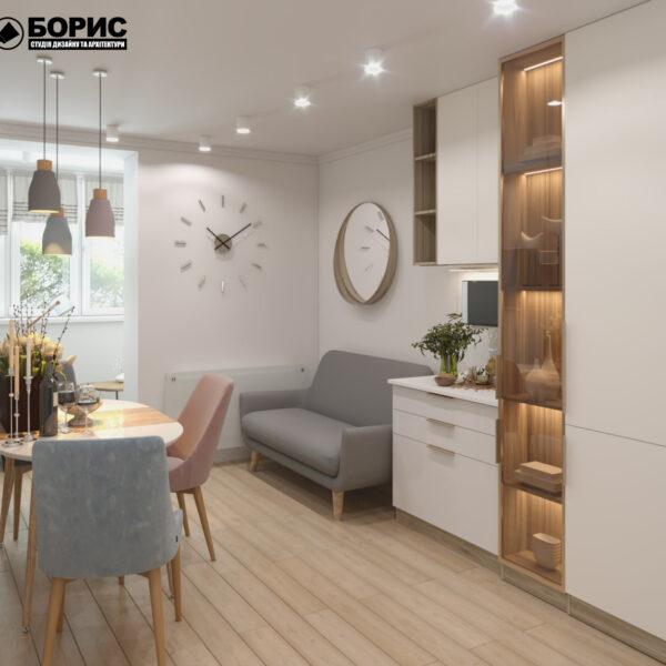 """Дизайн-проект двокімнатної квартири ЖК """"Пролісок"""", кухня вид ззаду"""