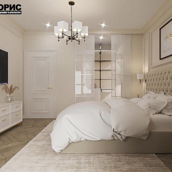 """Дизайн-проект квартири ЖК """"Німецький проект"""", спальня вид зліва"""
