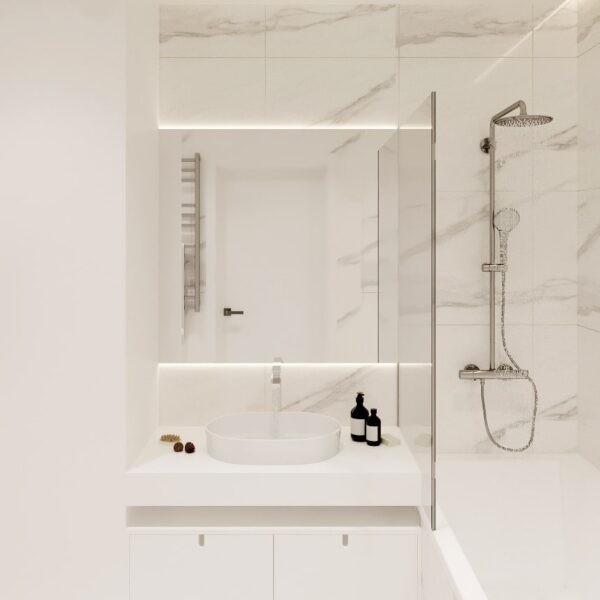 "Дизайн-проект двокімнатної квартири ЖК ""Левада"", санвузол вид спереду"