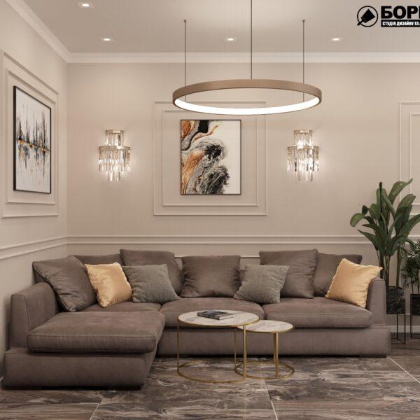 """Дизайн-проект однокімнатної квартири ЖК """"Інфініті"""", вітальня вид спереду"""
