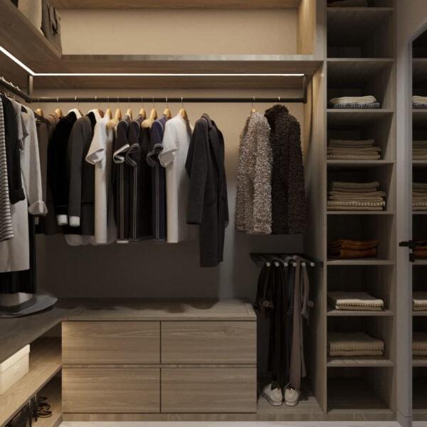 """Дизайн-проект трикімнатної квартири ЖК """"Віденський дім"""", гардеробна вид спереду"""
