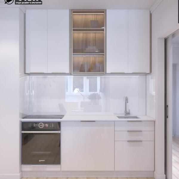 """Дизайн-проект двухкомнатной квартиры ЖК """"Пролисок"""", кухня вид спереди"""