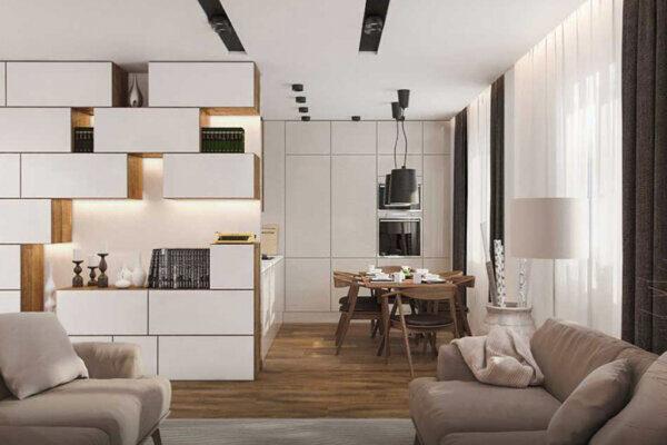 Дизайн інтер'єру однокімнатної квартири, фото 2