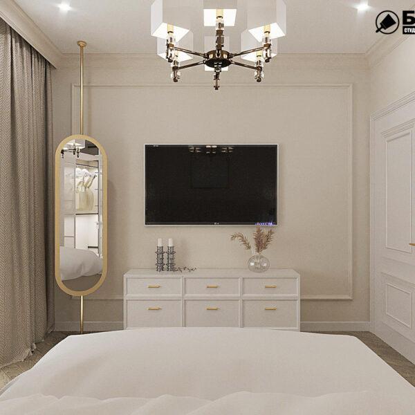 """Дизайн-проект квартири ЖК """"Німецький проект"""", спальня вид ззаду"""