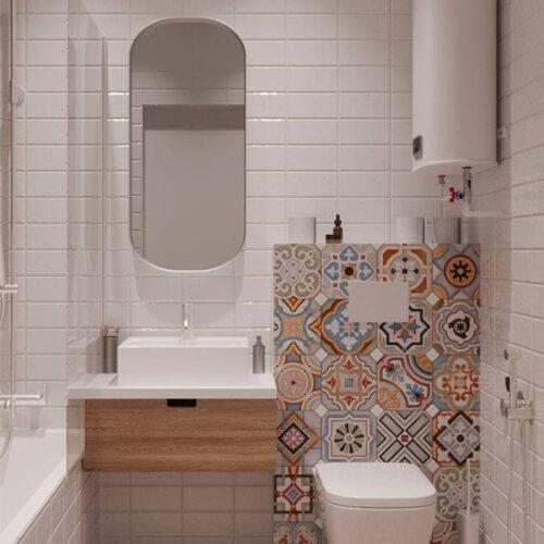"""Дизайн-проект интерьера однокомнатной квартиры ЖК """"Левада 2"""", санузел вид на зеркало"""