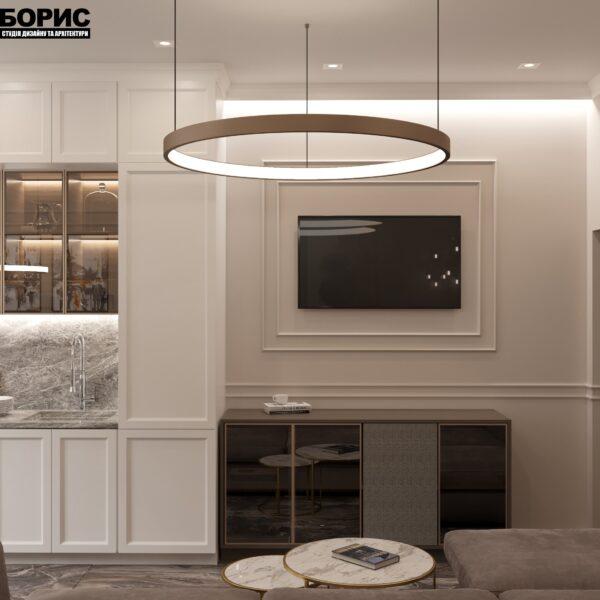 """Дизайн-проект однокімнатної квартири ЖК """"Інфініті"""", вітальня вид ззаду"""