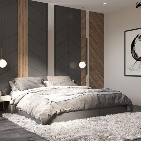 "Дизайн-проект двоповерхової квартири ЖК ""Клеменова Дача"", спальня №1 вид збоку"