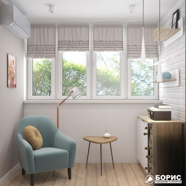 """Дизайн-проект двухкомнатной квартиры ЖК """"Пролисок"""", лоджия вид спереди"""