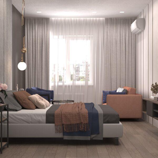"Дизайн-проект гостиницы ""CITY LIFE"", комната №2 вид справа"