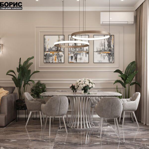 """Дизайн-проект однокімнатної квартири ЖК """"Інфініті"""", кухня обідній стіл"""