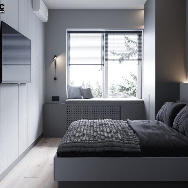 """Дизайн інтер'єру квартири ЖК """"Віденський дім"""", спальня вид зліва"""