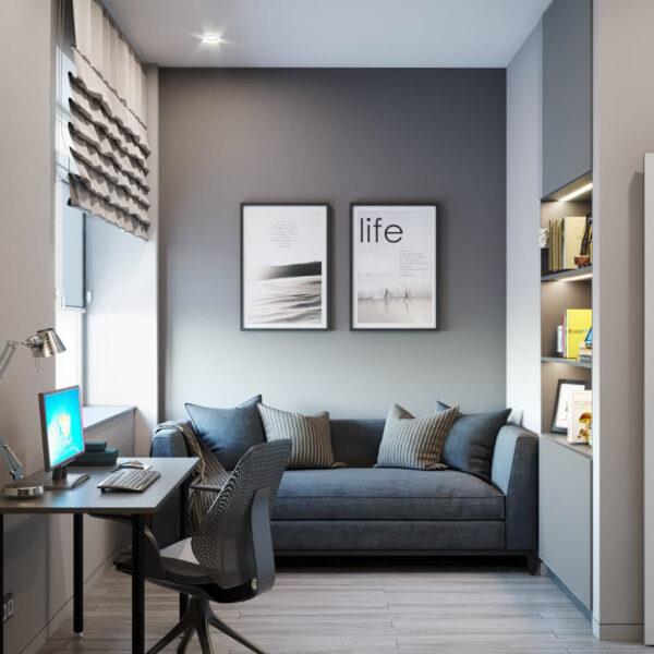 """Дизайн-проект трикімнатної квартири ЖК """"Віденський дім"""", кабінет вид справа"""