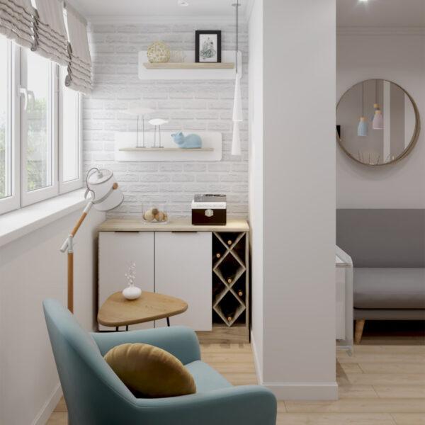 """Дизайн-проект двокімнатної квартири ЖК """"Пролісок"""", лоджія вид збоку"""