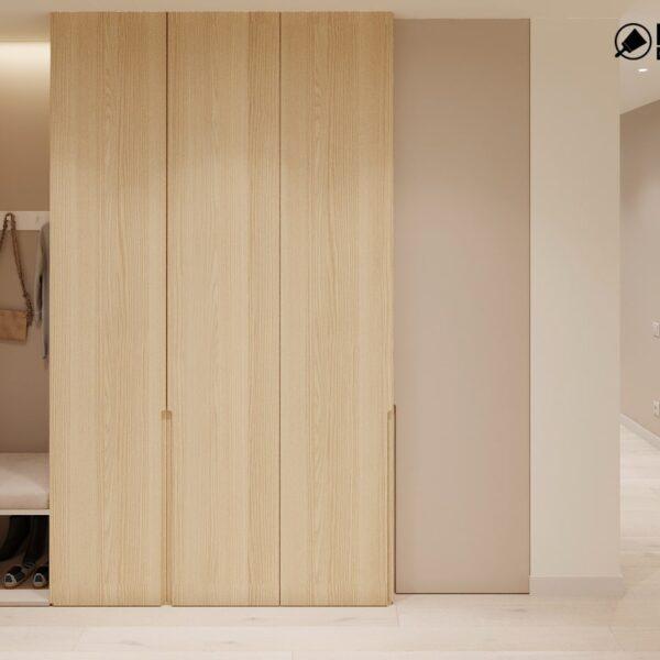 """Дизайн-проект двухкомнатной квартиры ЖК """"Левада"""", прихожая вид спереди"""