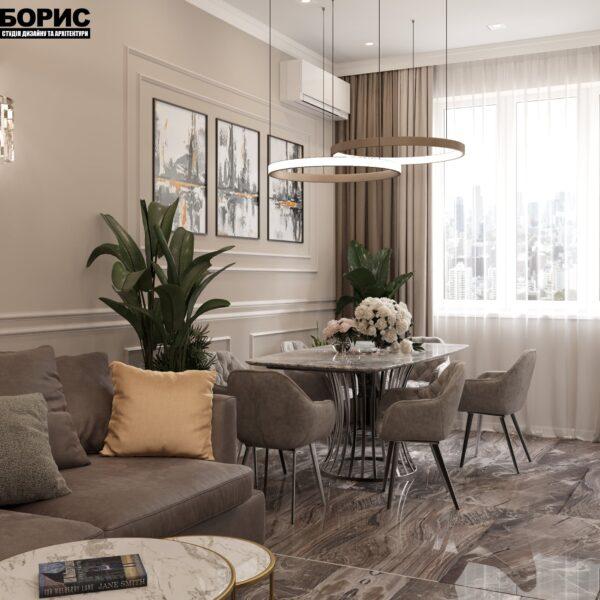 """Дизайн-проект однокімнатної квартири ЖК """"Інфініті"""", кухня"""