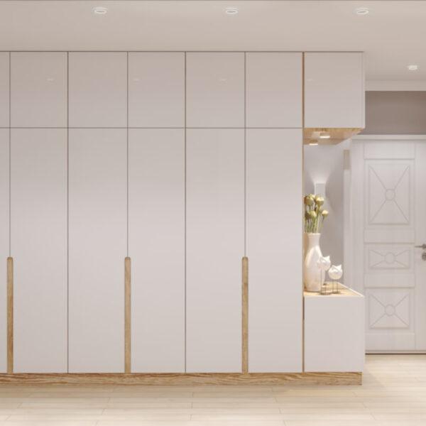 """Дизайн-проект двокімнатної квартири ЖК """"Пролісок"""", передпокій вид ззаду"""