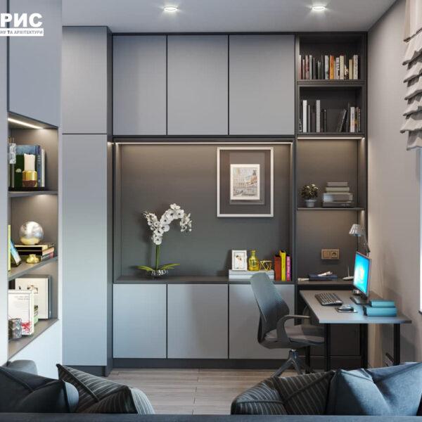 """Дизайн-проект трикімнатної квартири ЖК """"Віденський дім"""", кабінет вид зліва"""