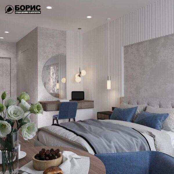 """Дизайн-проект гостиницы """"CITY LIFE"""", комната №3 вид сбоку"""
