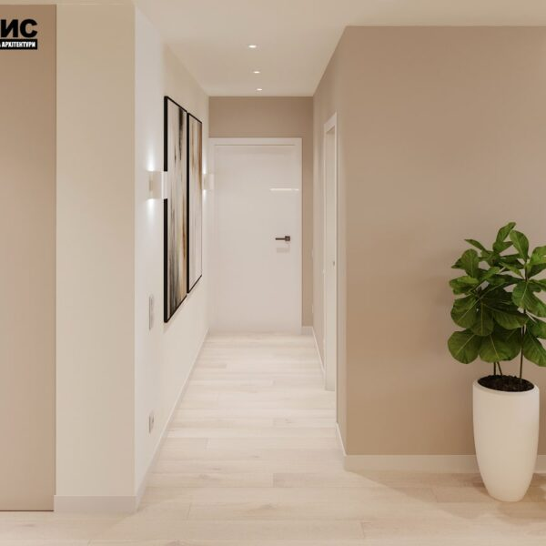 """Дизайн-проект двокімнатної квартири ЖК """"Левада"""", коридор вид спереду"""