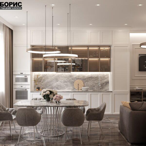 """Дизайн-проект однокімнатної квартири ЖК """"Інфініті"""", кухня вид спереду"""
