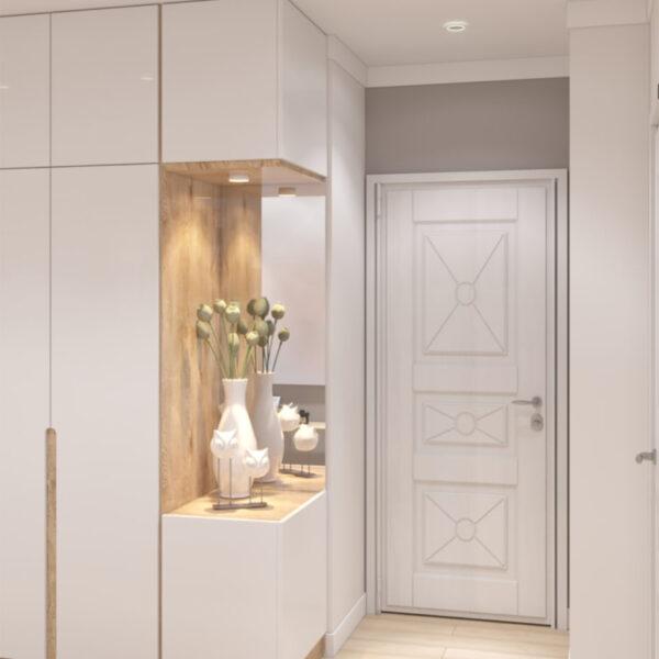 """Дизайн-проект двокімнатної квартири ЖК """"Пролісок"""", передпокій вхідні двері"""
