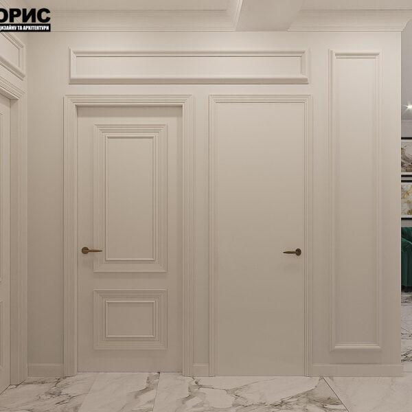 """Дизайн-проект квартиры ЖК """"Немецкий проект"""", прихожая вид сбоку"""