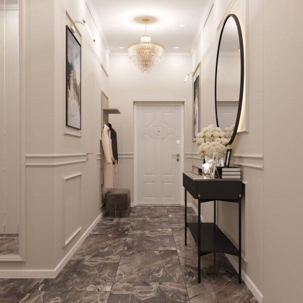 """Дизайн-проект однокімнатної квартири ЖК """"Інфініті"""", передпокій вид спереду"""