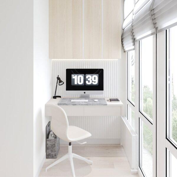 """Дизайн-проект двокімнатної квартири ЖК """"Левада"""", лоджія вид зліва"""