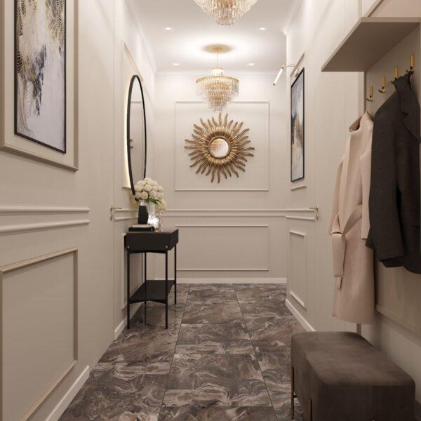 """Дизайн-проект однокімнатної квартири ЖК """"Інфініті"""", передпокій вид ззаду"""