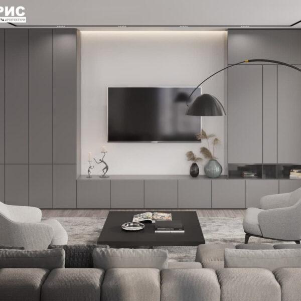 """Дизайн-проект трикімнатної квартири ЖК """"Віденський дім"""", вітальня вид ззаду"""