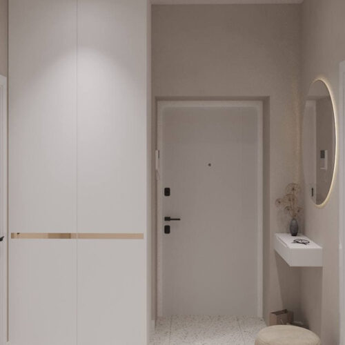 "Дизайн-проект интерьера однокомнатной квартиры ЖК ""Левада 2"", прихожая вид на тумбу"